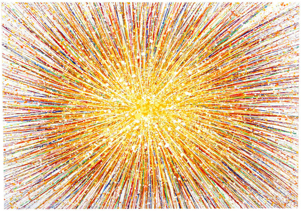 Large abstract art original yellow star painting on canvas by Rich Gane
