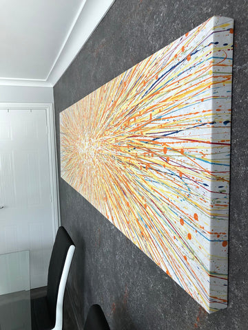 Finished stretched canvas in customers home 1