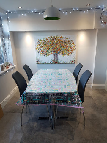 Large abstract autumn tree painting in customers house