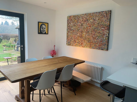 Large abstract drip painting on canvas in customers home