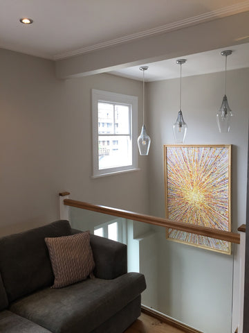 Large abstract wall art yellow star painting in customer's house