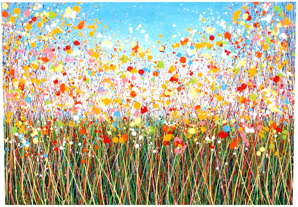 CLICK TO ENLARGE - Large Abstract Yellow Flower Meadow Painting