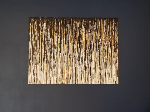Modern art black and gold vertical drip painting on canvas