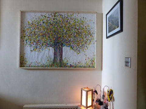 Large abstract green tree painting in customer's house 2