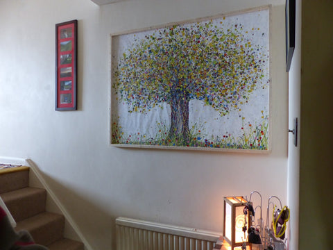 Large abstract green tree painting in customer's house 1