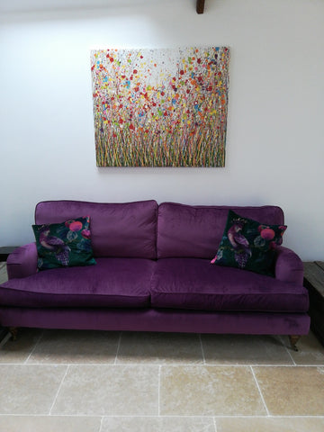 Large mixed flower painting hanging in customers house 1