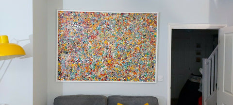 Customer Photo of my Original Oversize Spot and Dot Painting on Display in His Home 1