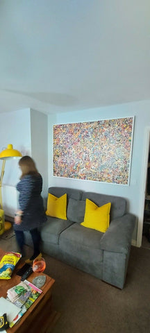 Customer Photo of my Original Oversize Spot and Dot Painting on Display in His Home 2