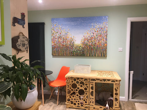 Customer photo showing my very large original flower meadow painting with path