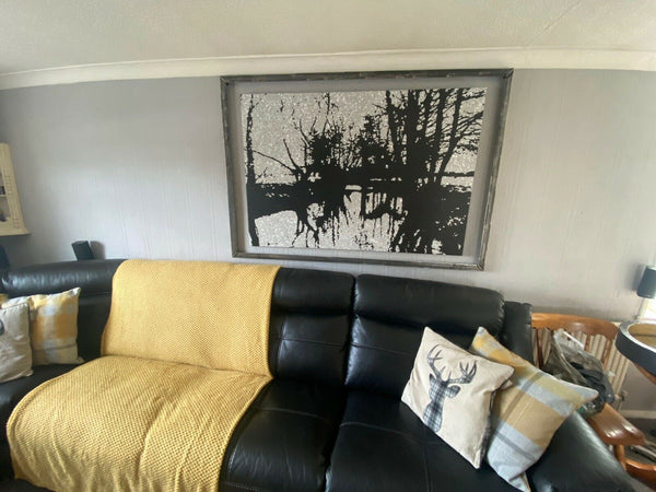 Original black and white river landscape painting on display in my customers house 2