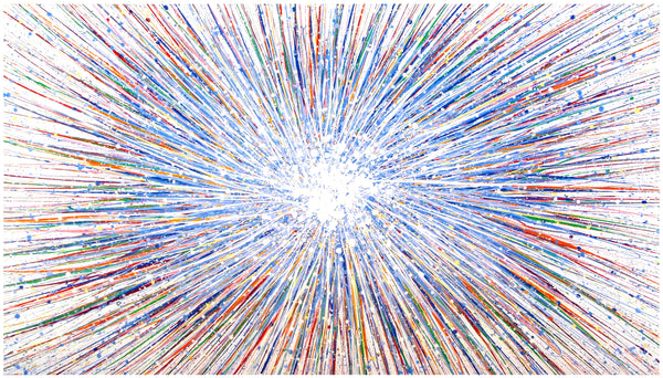 Commissioned custom size very large abstract blue star painting on canvas by British artist Rich Gane