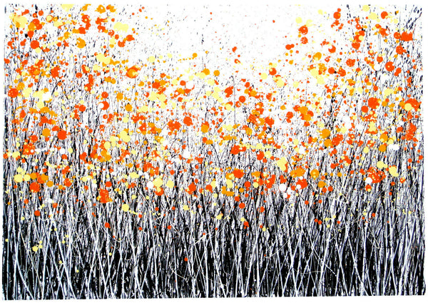 Black and white large flower meadow painting with orange flowers