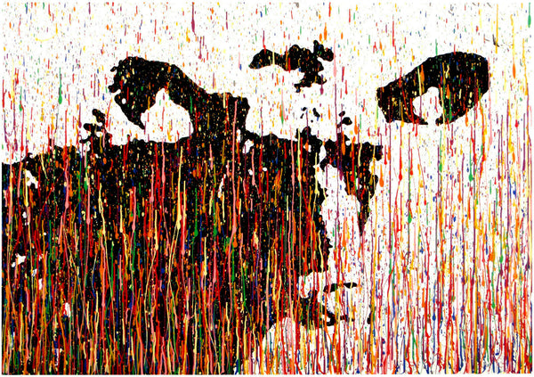 Very large black and white original cow portrait painting with colourful vertical lines and stripes on canvas