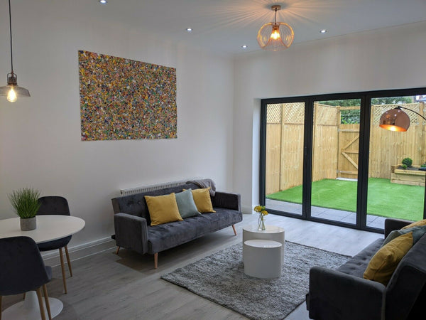 Original Oversize Abstract Dot and Spot Canvas Painting on Display in Customer's Home