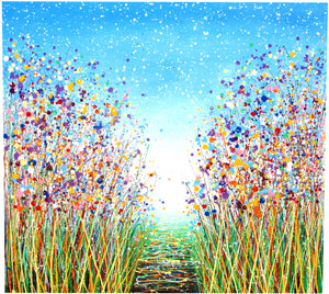 Painting Spotlight - Commissioned Original Blue and Purple Flower Meadow Painting