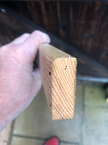 Rounded edge timber used to make canvas frame