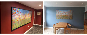 Two customer photos of my original art on display in their homes