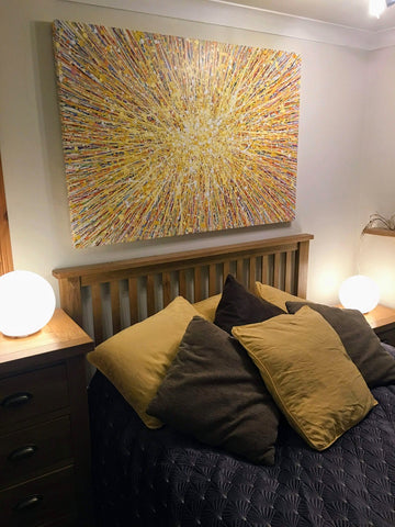 Very large abstract yellow star painting on canvas in customers house 1