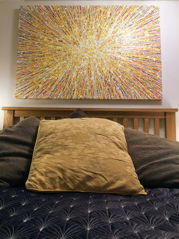 Very large abstract yellow star painting on canvas in customers house 2