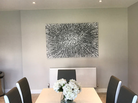 Very large black and white star painting on canvas
