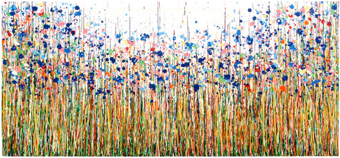 Original very large blue flower drip painting by Rich Gane