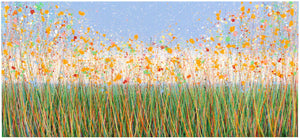 Extra large yellow flower painting on panoramic canvas by Rich Gane - full view