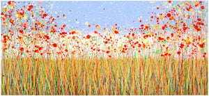 Giant original abstract flower meadow painting on canvas by Rich Gane - full view