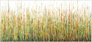 Original extra large 244cm wide abstract green drip painting by Rich Gane - full view