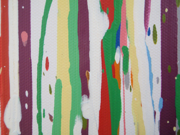 Original extra large 244cm wide abstract green drip painting by Rich Gane - detail