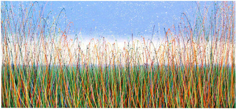Original large green grass meadow panoramic painting by Rich Gane - full view