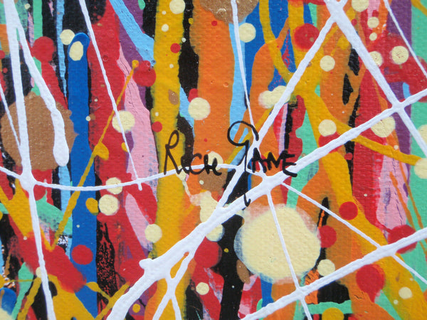 Oversize original drip and dot abstract painting on canvas by Rich Gane - detail