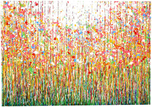 Original Pink and Yellow Flower Meadow Drip Painting