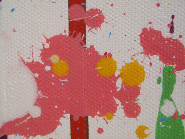 Original Pink and Yellow Flower Meadow Drip Painting - Detail