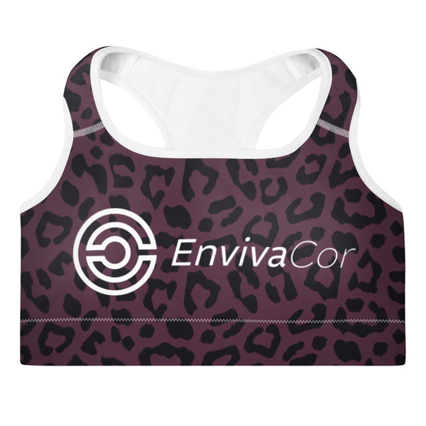 Premium Padded Sports Bra -Leopard Purple Chakra