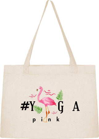 Sac Cabas Shopping Stanley & Stella « #Yogapink » - Design original du Flamand Rose Tropical.