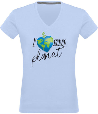 T-shirt Col V pour Femme message « I Love My Planet