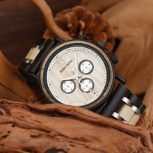"Laden Sie das Bild in den Galerie-Viewer, 44mm ""BOBO BIRD"" Quarz Herren Holzuhr Chronograph"