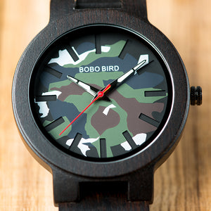 "45.8mm ""BOBO BIRD"" Quarz Herren Holzuhr Army"