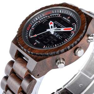 "45mm Digital ""BOBO BIRD"" Quarz Herren Holz Digital Armbanduhr"