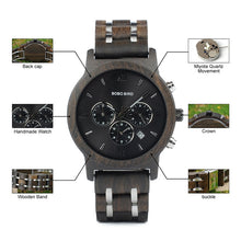 "Laden Sie das Bild in den Galerie-Viewer, 43mm ""BOBO BIRD"" Quarz Herren Unisex Holz Chronograph"
