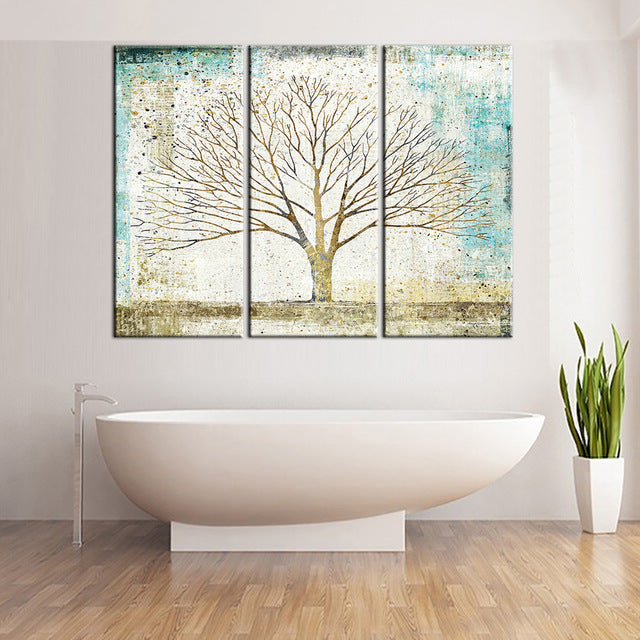 Abstract Tree Painting 3 Piece Wall Art