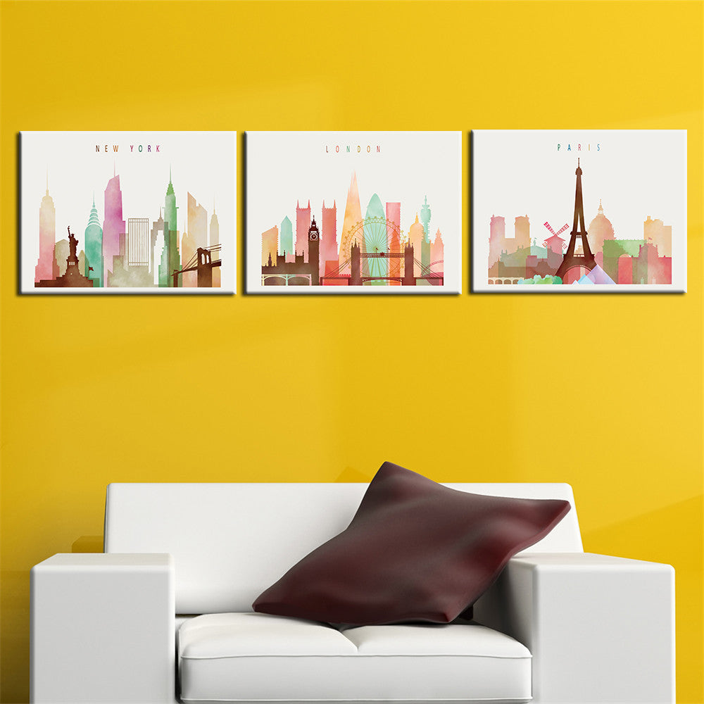 Paris London New York Colourful Canvas – CanvasWallArt