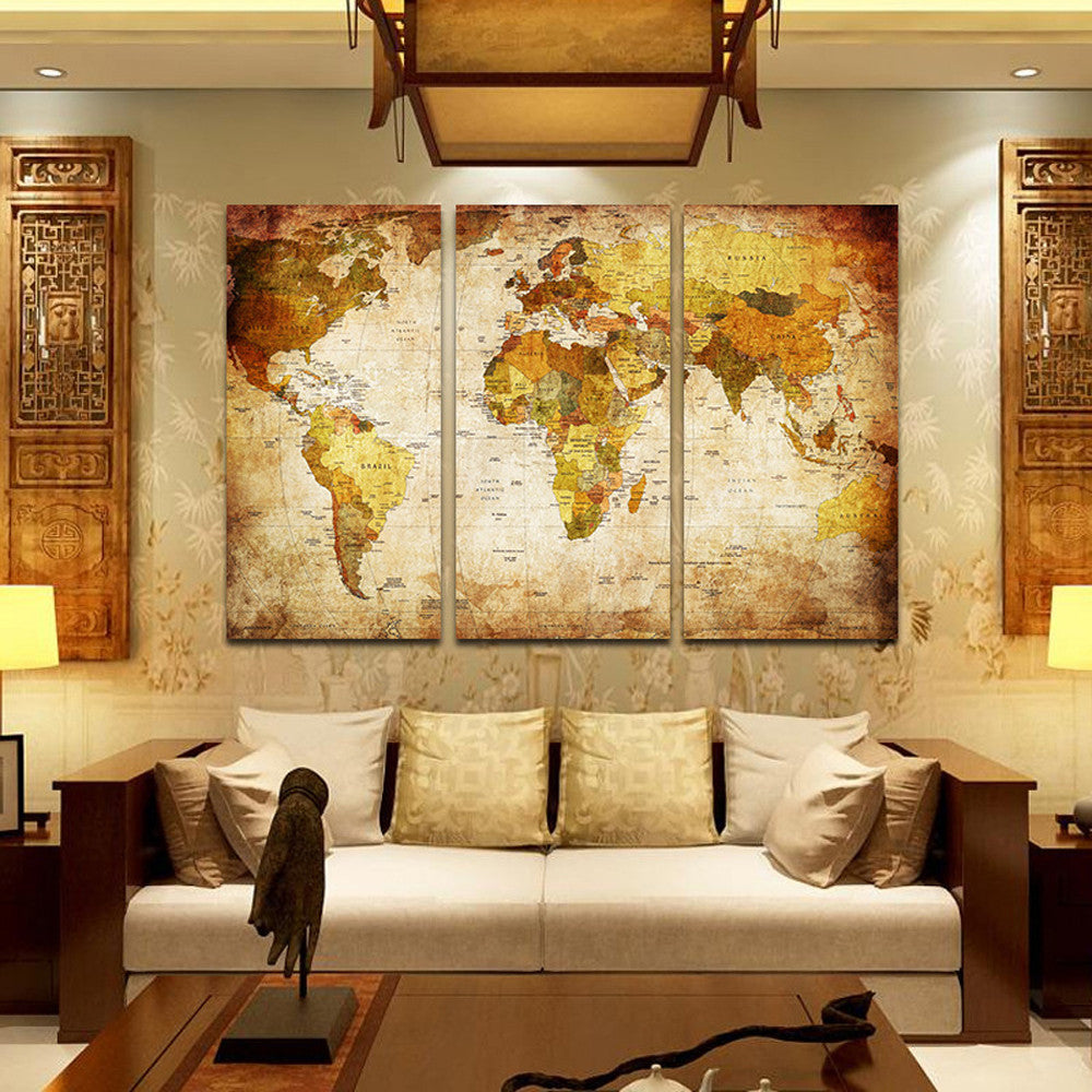 Old Looking World Map 3 Piece Wall Art – CanvasWallArt