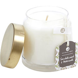 Sandalwood & Patchouli Scented Soy Glass Candle 10 Oz. Combines Patchouli & Amber Sandalwood, Himalayan Cedarwood, Black Pepper, Sunflower, & Ginger Root. Burns Approx. 45 Hrs.