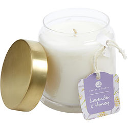 Lavender & Honey Scented Soy Glass Candle 10 Oz. Combines Lavender Infused Honey & Crushed Chamomile, Purple Willow Bark & White Tea Leaves. Burns Approx. 50 Hrs.