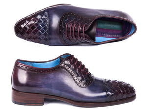 Paul Parkman Woven Navy & Purple Leather Captoe Oxfords