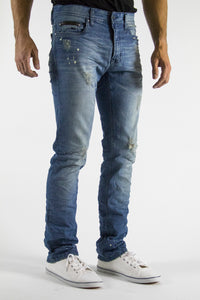 Dirty Blue Wash Slim Fit Regular Waist 5 Pocket Stretch denim jeans