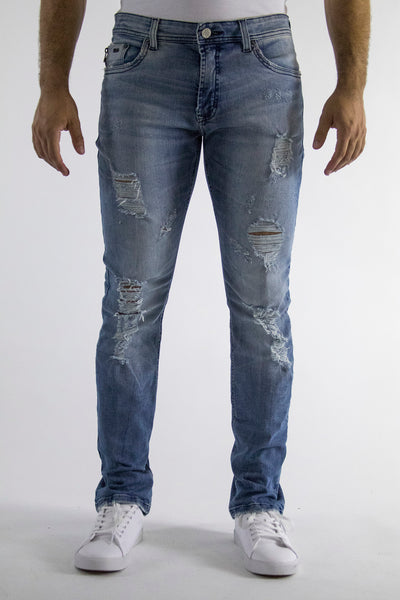 Mediun blue wash, slim fit, distress regular waist, stretch denim, 98% cotton 2% elastane.