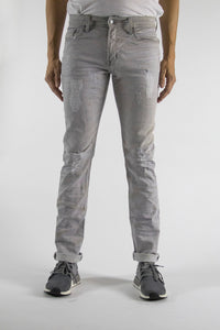 Dirty Light Grey Wash Skinny Fit Regular Waist 5 Pocket Stretch denim 98% cotton, 2% elastane, Lightly distress