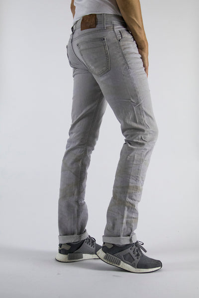 Dirty Light Grey Wash Skinny Fit Regular Waist 5 Pocket Stretch denim 98% cotton, 2% elastane